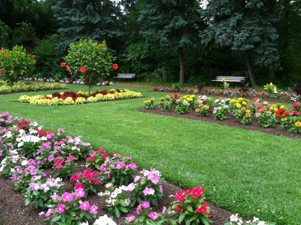 7. The planting style in the Annual Garden is very formal with colorful beds of annuals planted with regime