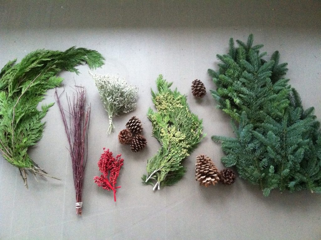 Here you can see some of the contents of a 7-lb Box of Decorating Greens from White Flower Farm.